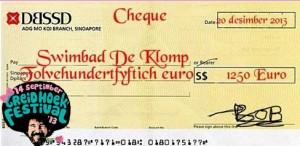 Cheque Swimbad De Klomp 1250 euries
